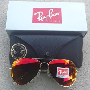 Brand New Red RayBan Aviators 62mm Never Worn